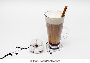 kawa, cappuccino, tło, anyż, cynamon, gwiazdy, biały