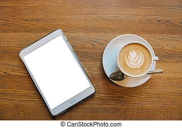 kawa, cappuccino, tabliczka, ekran, następny, kubek, stół, biały, opróżniać