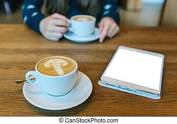 kawa, cappuccino, tabliczka, screen., następny, kubek, czysty, stół, biały