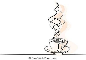 kawa, ciągły, kreskówka, filiżanka