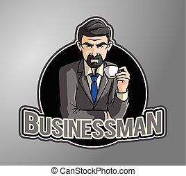 kawa, cieszący się, handlowiec