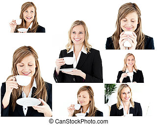 kawa, cieszący się, jakiś, kobiety, dwa, blondynka, collage