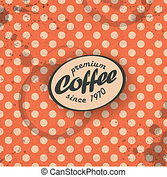 kawa, eps10, themed, tło, retro, vector.