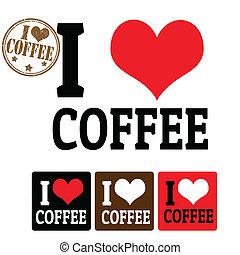 kawa, etykiety, miłość, znak
