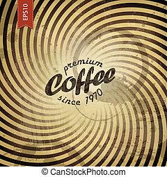 kawa, grunge, tło., wektor, retro, eps10