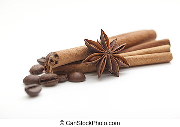 kawa, gwiazda, wtyka, anyż, fasola, cynamon