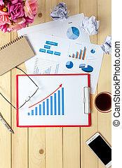 kawa, handlowy, czarnoskóry, również, notatnik, prospekt, biuro, wykresy, stacjonarny, pióro, kwiat, wykresy, tło., kasetka górna