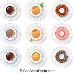 kawa herbaty, donuts