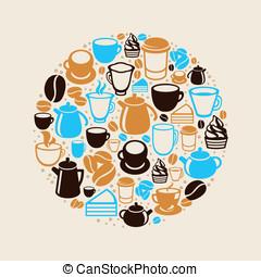 kawa herbaty, wektor, pojęcie