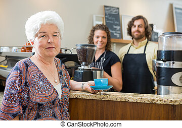 kawa, kobieta, filiżanka, pracownicy, kantor, dzierżawa
