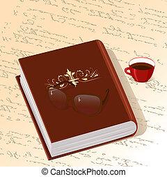 kawa, książka, ozdoba, złota filiżanka