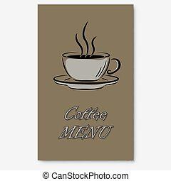 kawa, menu, osłona, strona, wektor, template.