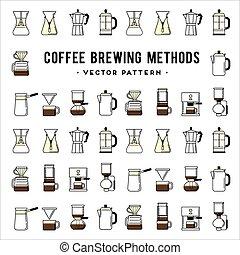 kawa, metody, drogi, energia, browarnictwo, pattern.,...