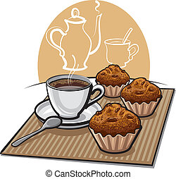 kawa, muffins