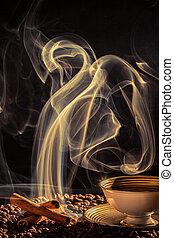 kawa, na, obcy, powstanie, dym, upieczony