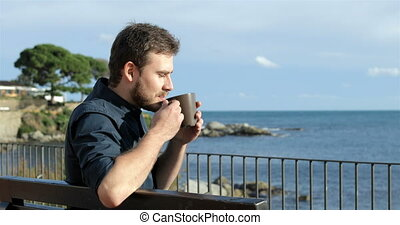 kawa, ocean, picie, człowiek, oglądając