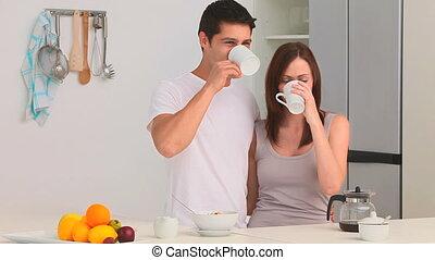 kawa, picie, para, filiżanka
