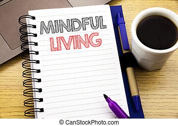 kawa, pojęcie, biuro, uważający, drewniany, słowo, laptop, życie, notatnik, pisanie, handlowy, pisemny, książka, tło, living., świadomość, szczęśliwy