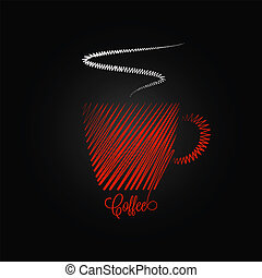 kawa, projektować, czerwone tło, filiżanka