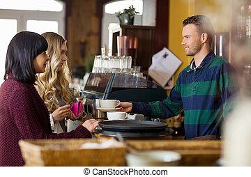kawa, służąc, kelner, kobiety