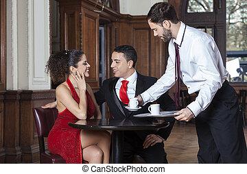 kawa, służąc, restauracja, kelner, para, tango