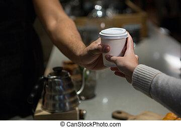 kawa, sekcja, kelner, średni, kantor, kobieta, służąc
