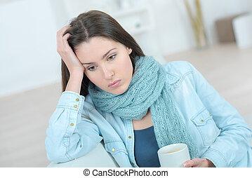 kawa, smutny, kubek, dzierżawa, kobieta