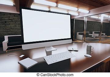 kawa, strych, pokój, nowoczesny, do góry, desktop komputer, ...