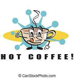 kawa, sztuka, zacisk, znak, gorący napój