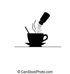 kawa, wektor, cukier