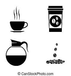 kawa, wektor, czarnoskóry, komplet, ikony
