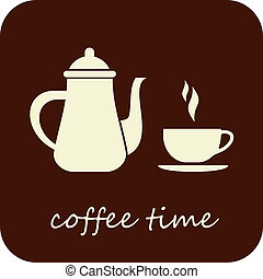 kawa, wektor, -, czas, ikona