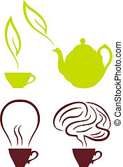 kawa, wektor, komplet, herbata