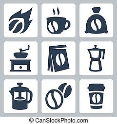 kawa, wektor, komplet, odizolowany, ikony