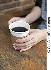 kawa, wręczać dzierżawę, filiżanka