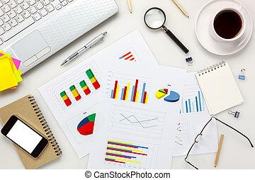 kawa, wykres, pióro, ruchoma głoska, concept., prospekt, biuro, papier listowy, laptop, górny, biurko, monokle, przybory, desk., biały