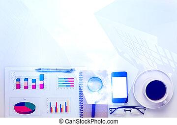 kawa, wykres, space., handlowy, .mobile, telefon, ołówek, prospekt, biuro, papier listowy, kopia, laptop, górny, biurko, monokle, przybory, biały