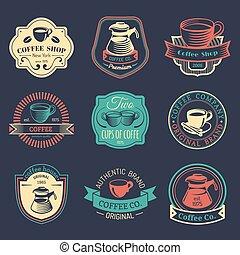 kawa wystawiają, logos., sklep, restauracja, collection., nowoczesny, ikony, emblematy, wektor, hipster, rocznik wina, kawiarnia