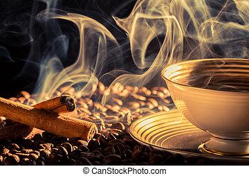 kawa, zapach, cynamon, upieczony