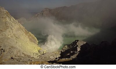 Kawah Ijen, Volcanic crater, where sulfur is mined. - Crater...