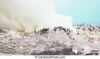 kawah ijen volcano nature footage background