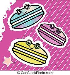 kawai, engraçado, fundo, doce, cor-de-rosa, macaron, padrão, caricatura
