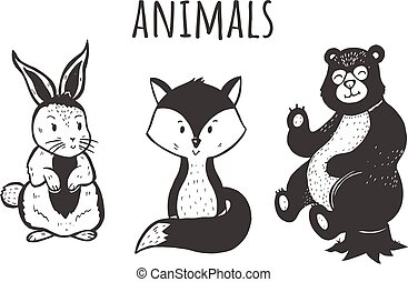 Vector illustration of cute and sweet forest animals set. Fox, hare, bear. Kawai cartoon characters. Vintage hand drawn style.