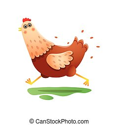 Kawai running hen with fast speed over white background