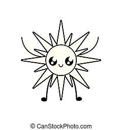 kawaii, été, chaud, caractère, soleil