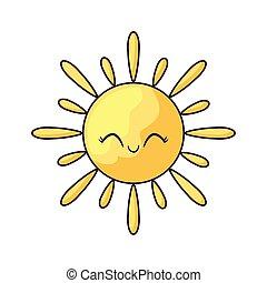 kawaii, été, chaud, style, soleil
