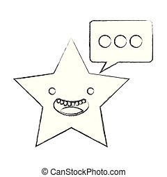 kawaii, étoile, bulle discours, dessin animé, heureux