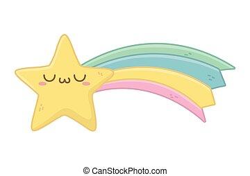 kawaii, étoile, conception, dessin animé