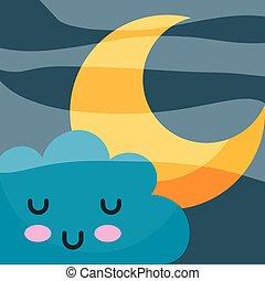 kawaii, étoile, dessin animé, nuage, dormir