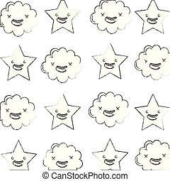 kawaii, étoile, modèle, caractères, dessin animé, nuage
